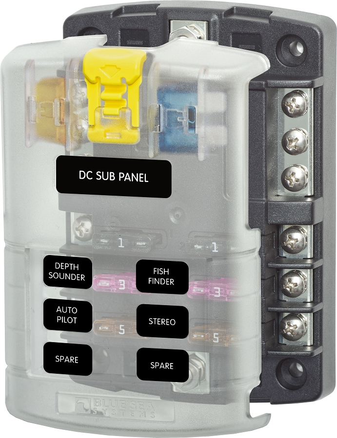 5025 blue sea systems fuse block for 6 dc circuits with cover and blade fuse box at reclaimingppi.co