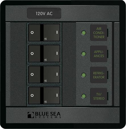 blue sea systems 1210 360 series panel 120vac 4 circuit breaker rr