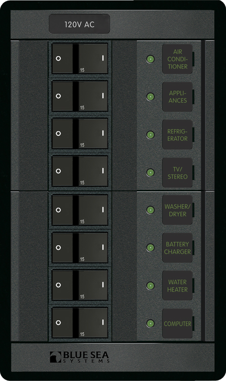 blue sea systems 1228 360 series panel 120vac 8 position rr