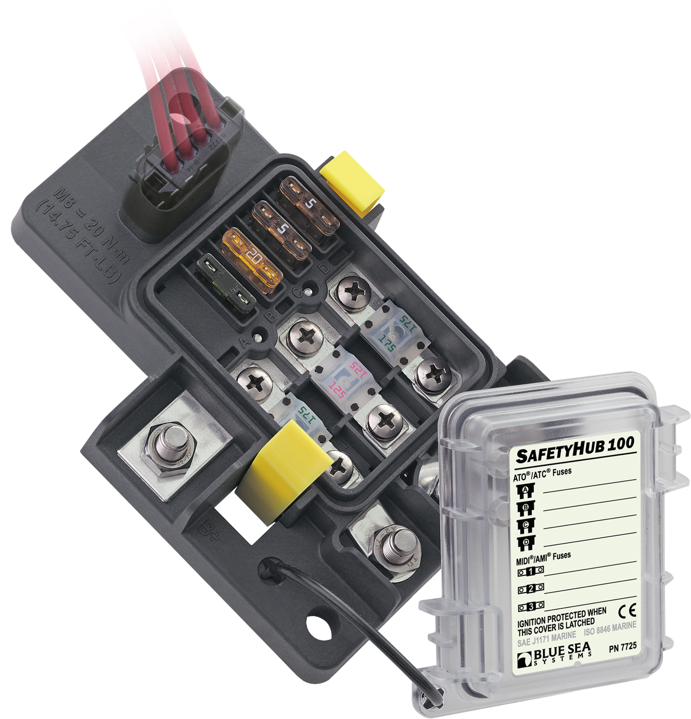 BSS7725 blue sea systems 7725 fuse block safety hub 100 marine fuse box at gsmx.co