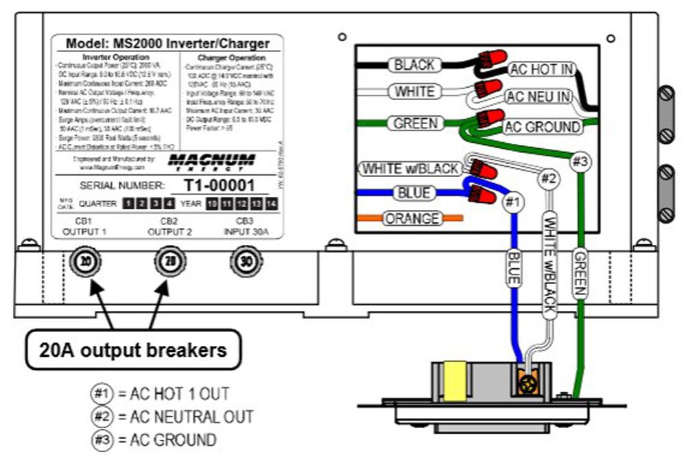 magnum ms2000 20b 2kw inverter 12v w 100a pfc charger 20a brk