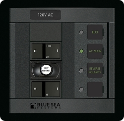 Blue Sea 1190  AC Circuit Breaker Panel with ELCI Main and one circuit breaker