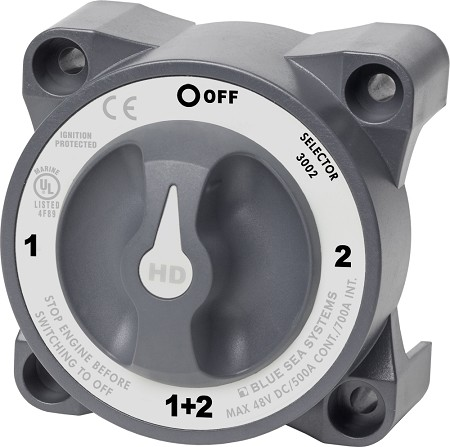 Blue Sea 3002 Heavy Duty Battery Selector Switch 1-2-BOTH-OFF