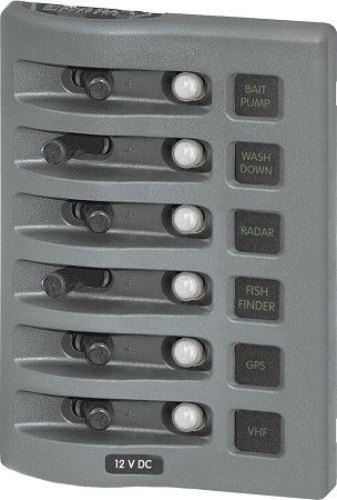Blue Sea 4376 WeatherDeck Circuit Breaker Panel 12 Volts DC