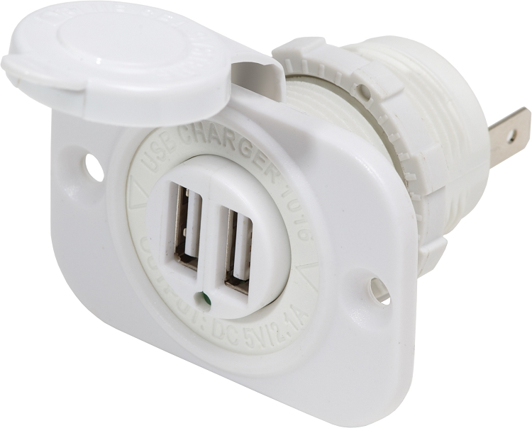 Blue Sea 1016200 Dual USB Charger Socket in white