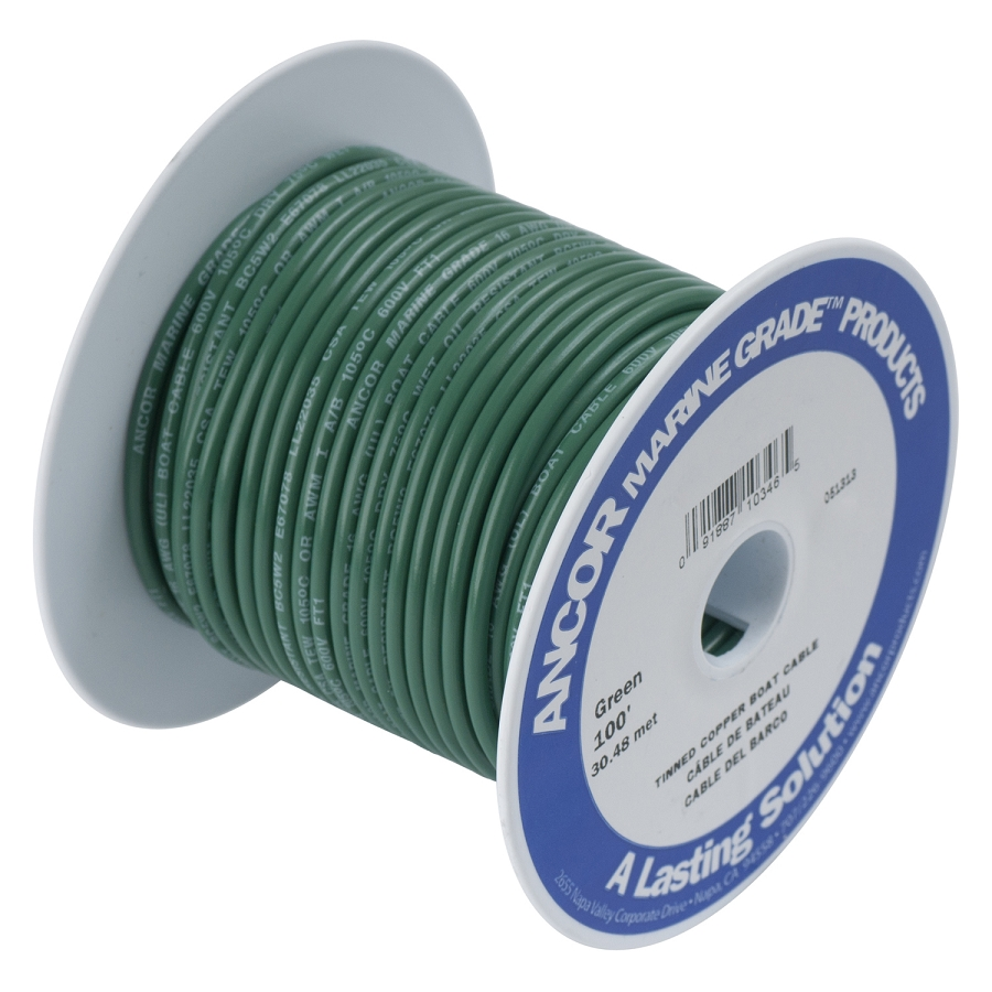 Ancor 111310 Marine Tinned wire 8 awg Green - Per Foot