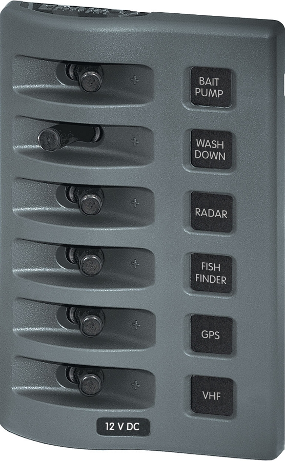 Blue Sea 4307 WeatherDeck 12V DC Waterproof Switch Panel 6 Position