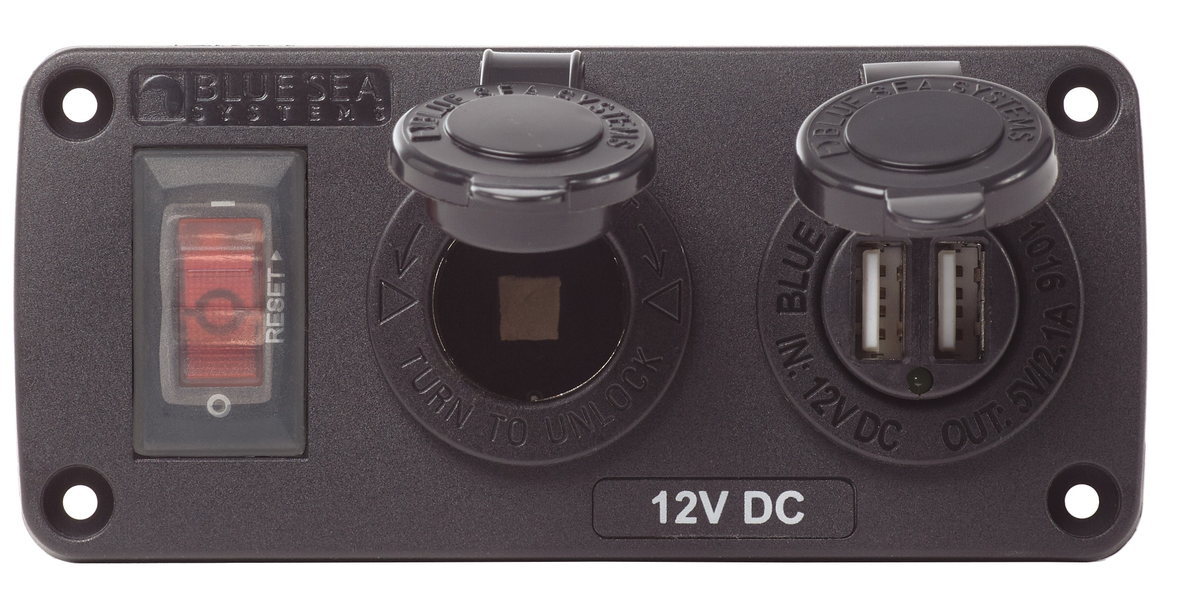 Blue Sea 4363 Water-Resistant Accessory Panel with DC port and USB port