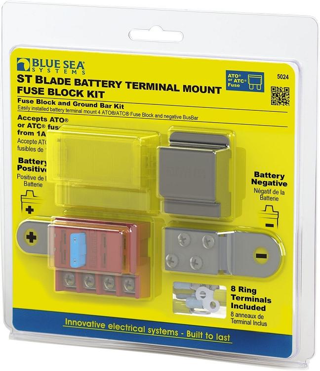 Blue Sea 5024 St Blade Battery Terminal Mount Fuse Block Kit