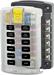 Blue Sea 5029 ST Blade Fuse Block with 12 Circuits and Cover