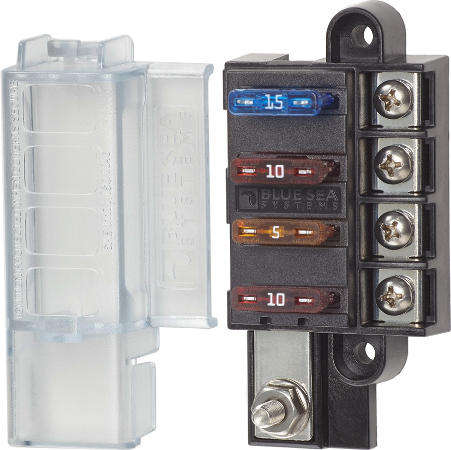 Blue Sea Systems Compact Fuse Block With Cover For 4 Dc