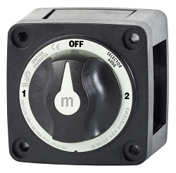 Blue Sea 6008200 Black Mini Battery Selector Switch 1-2-OFF
