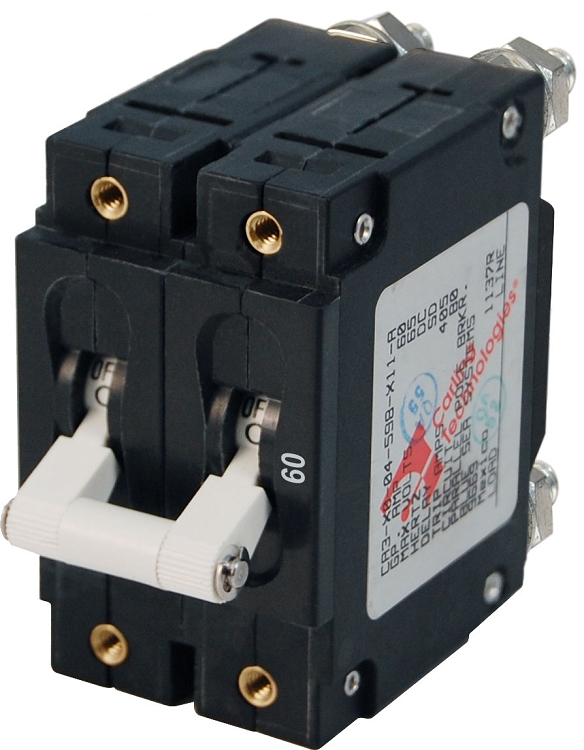 Blue Sea 7254 Double Pole Circuit Breaker 60 Amps White
