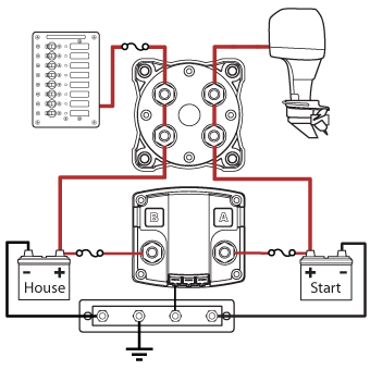 blue sea systems add a battery system with acr and switch p n 7650  circuit diagram showing acr isolated