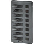 Blue Sea 4308 WeatherDeck Fused Panel 12 Volts DC 8 Position gray
