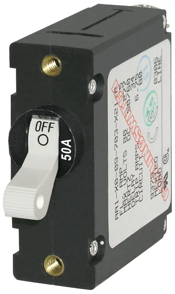 Blue Sea 7230 Single Pole Circuit Breaker 50A White