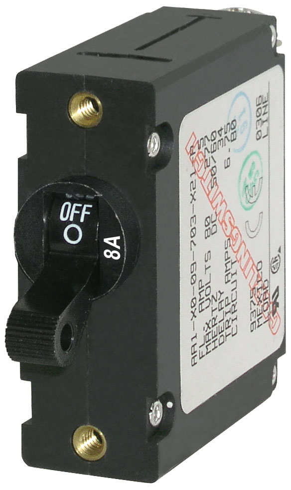 Blue Sea 7347 Single Pole Circuit Breaker 8 Amps Black