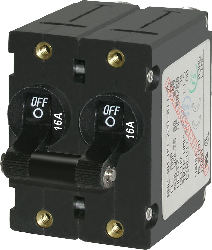 Blue Sea 7348 Double Pole Circuit Breaker 16 Amps Black