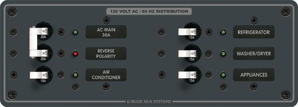 Blue Sea Systems 8099 Panel 120vac 6 Pos Horizontal With Main