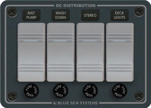 Blue Sea 8262 Waterproof Panel 12 Volts DC 4 Position Horizontal