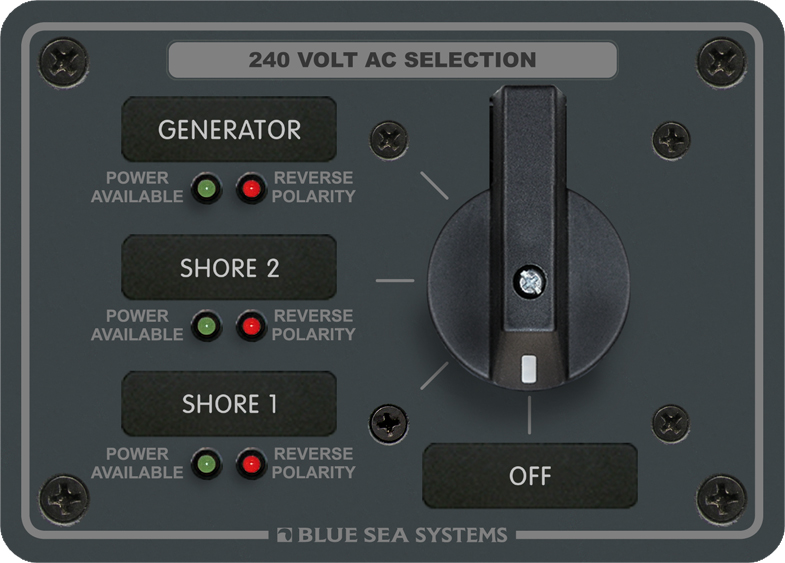 Blue Sea 8361 AC Rotary Panel 240VAC/63A OFF + 3