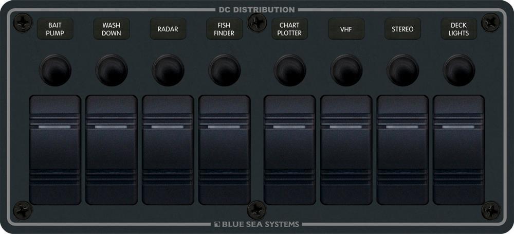 Blue Sea Systems 8371 Waterproof Circuit Breaker Panel 12 Volts DC 8  Position Horizontal Black