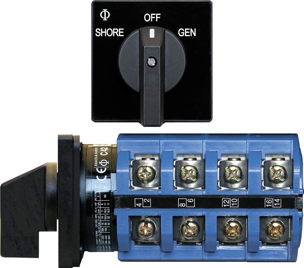 Blue Sea 9093 AC Selector Switch, 120+120/240V 63A OFF+2