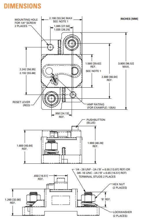 blue sea systems 7177 klixon dc circuit breaker surface mount 100 amps