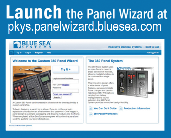 Launch the panelwizard program at pkys.panelwizard.bluesea.com