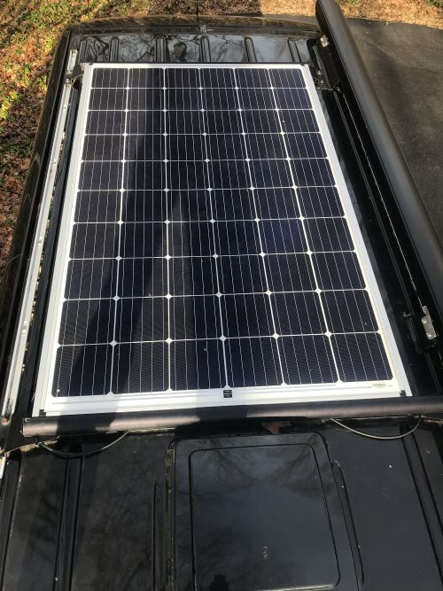 Top view of solar panel on Sprinter