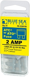 Blue Sea 5236100 ATO/ATC Fuse 2 Amp (25 pack)