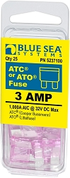 Blue Sea 5237100 ATO/ATC Fuse 3 Amp (25 pack)