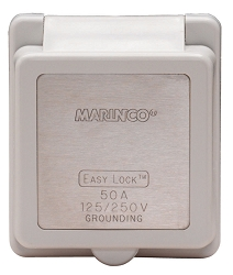 Marinco 50 Amp 125/250V replacement white cap and bezel for non-metallic inlets