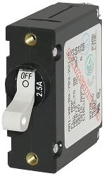 Blue Sea 7197 Single Pole Circuit Breaker 2.5 Amps White