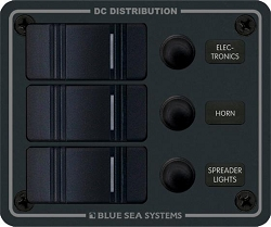 Blue Sea 8374 Waterproof Circuit Breaker Panel 12 Volts DC 3 Position