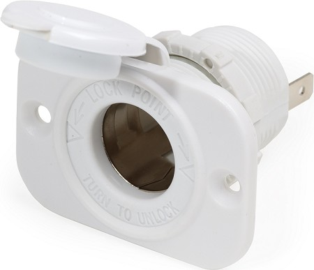 Blue Sea DC socket for 12 volt accessories in White Finish