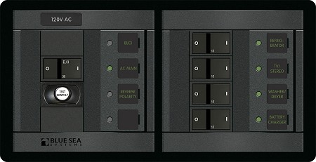 Blue Sea 1193  AC Circuit Breaker Panel with ELCI Main and four circuit breakers