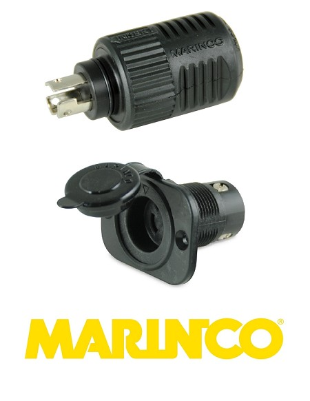 Marinco 12VCP Trolling Motor Plug and Receptacle for 12, 24 or 36 Volts