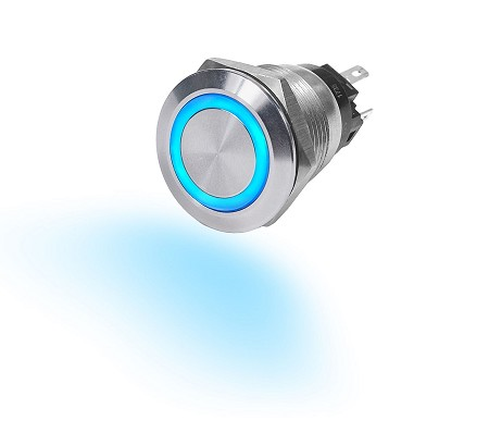 Blue Sea 4161 Push Button Momentary LED Ring Switch OFF-(ON)