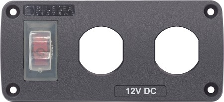 Blue Sea 4364 Customizable Water-Resistant Accessory Panel with 2 blank apertures