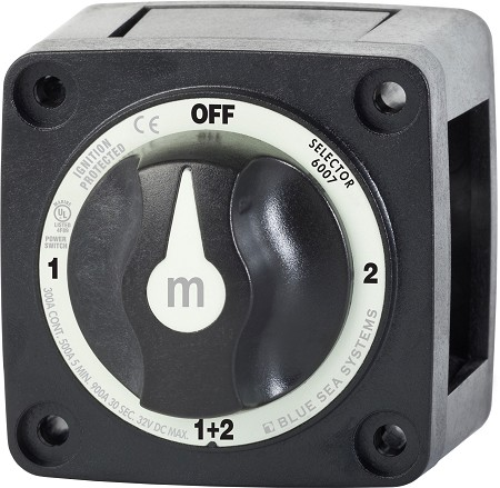Blue Sea 6007200 Mini Battery Selector Switch 1-2-BOTH-OFF in Black