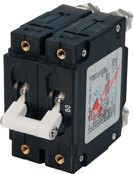 Blue Sea 7256 Double Pole Circuit Breaker 80 Amps White