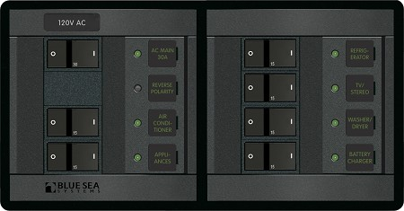 Blue Sea 1230 Modular 360-Series Panel 120VAC 6 position