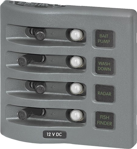 Blue Sea 4374 WeatherDeck Panel 12 Volts DC CLB 4 Position gray