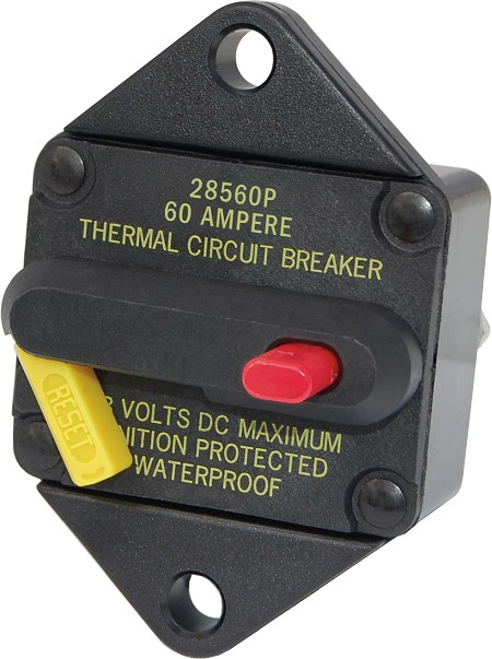 Blue Sea 7084 Panel Mount 285-Series DC Circuit Breaker 60 Amps