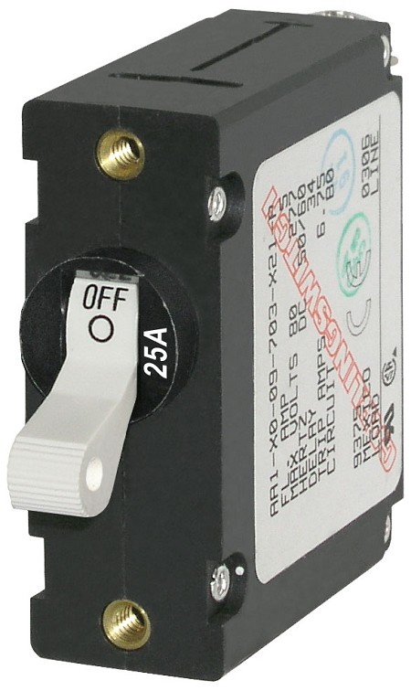 Blue Sea 7218 Single Pole Circuit Breaker 25A White