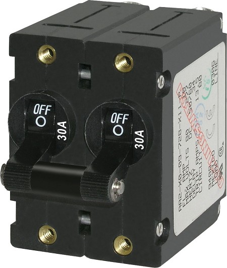 Blue Sea 7237 Double Pole Circuit Breaker 30A Black