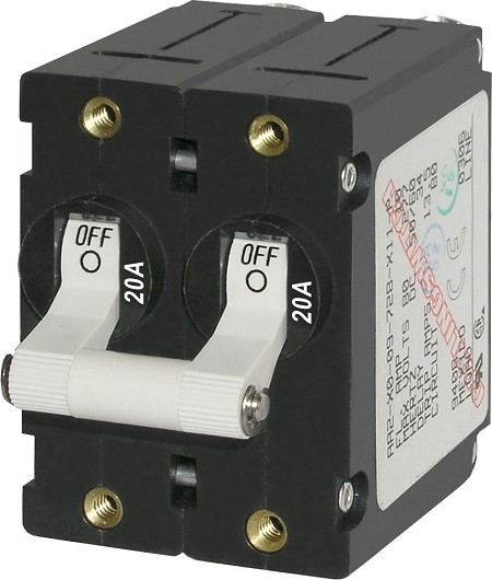 Blue Sea 7260 Double Pole Circuit Breaker 20A White