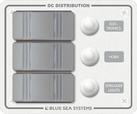 Blue Sea 8274 Waterproof Panel CB 12 Volts DC 3 Position Vertical