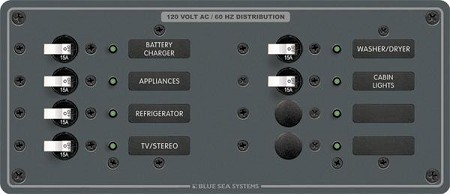 Blue Sea 8411 Panel 120 Volt AC 8 position Horizontal